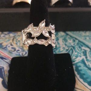 Silver Vine gemstone ring